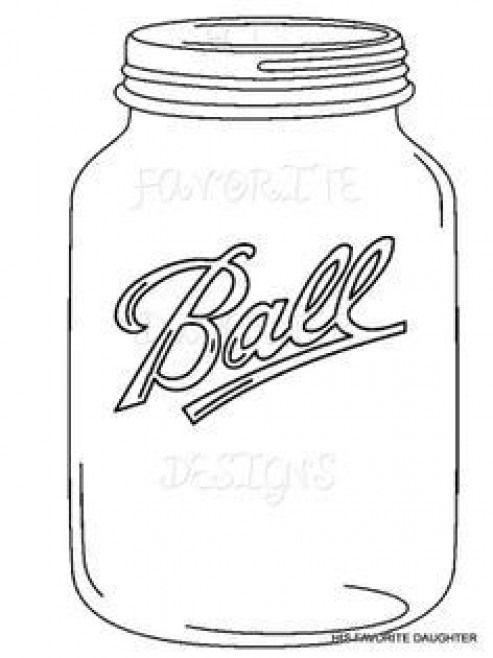 Mason Jar Coloring Page Capture Marvelous Template Jars Clip Art