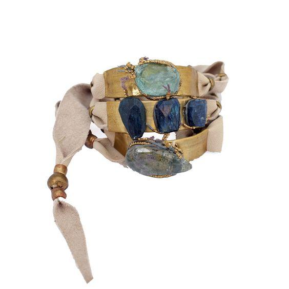 petra white leather wrap bracelet