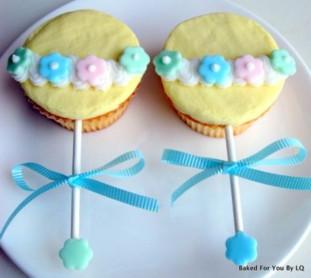 Baby rattle cupcakes for baby shower