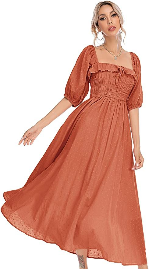 R.Vivimos Women's rust Slim Fit Half Sleeve Dresses Square Collar Long Midi Dress