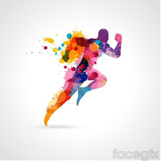 Color inkjet running man vector