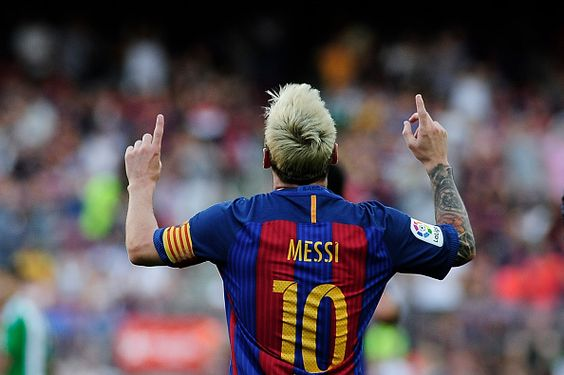Lionel Messi of FCBarcelona celebrating his goal during the Spanish League match…