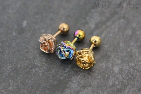 Rose Tragus Earring Stud Tragus Jewelry Cartilage by MyBodiArt