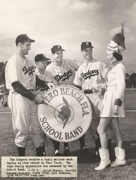 #MLB baseball started this week. In honor, our #TBT photo shows the Brooklyn #Dodgers spring training in 1950's Vero.