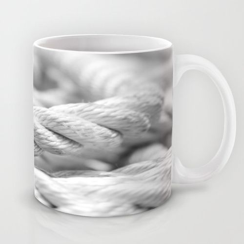 Ropes black and white macro Mug