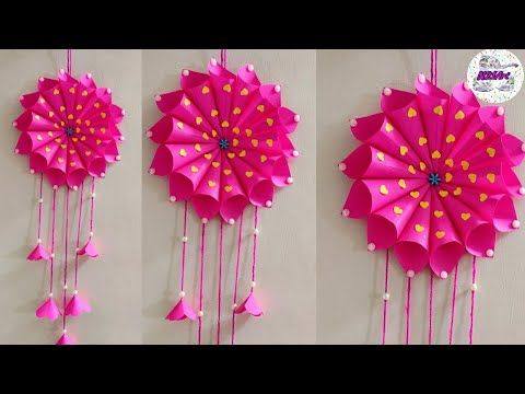 Diy Paper Craft Ideas Wall Decoration Simple Home Decor Hanging Flower Youtube Paper Crafts Paper Crafts Diy Kids Crafts
