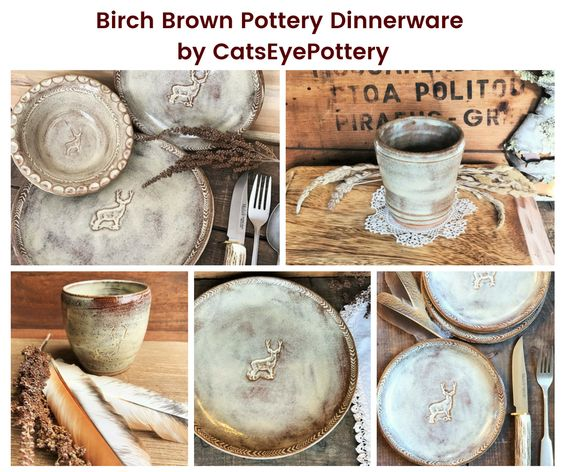 Birch Brown Pottery Dinnerware by CatsEyePottery