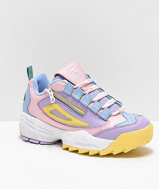 FILA Disruptor 3 Zip Multicolor Shoes in 2020 | Pastel shoes