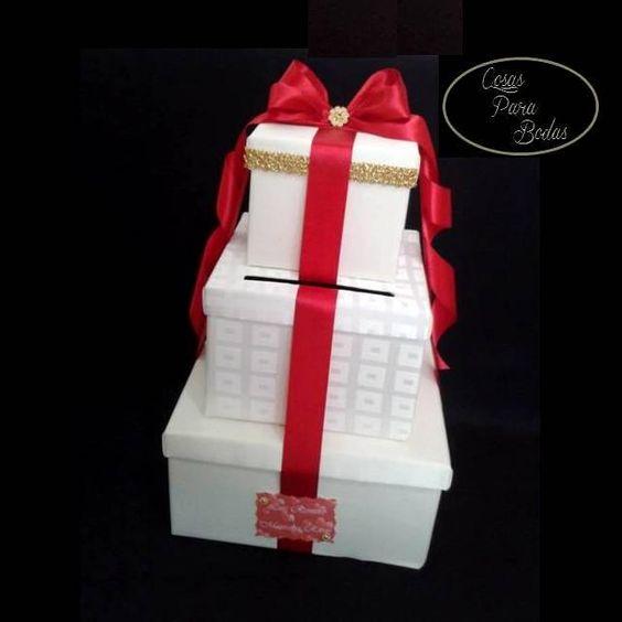 CA_188 Caja para Sobres Ivory Rojo, Personalizada #bodas