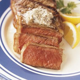 New York Steaks with Blue Cheese Butter