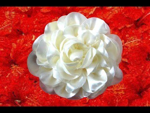 Tutorial paso a paso Flor en cinta organza para el cabello No.149 Manualidadeslahormiga - YouTube
