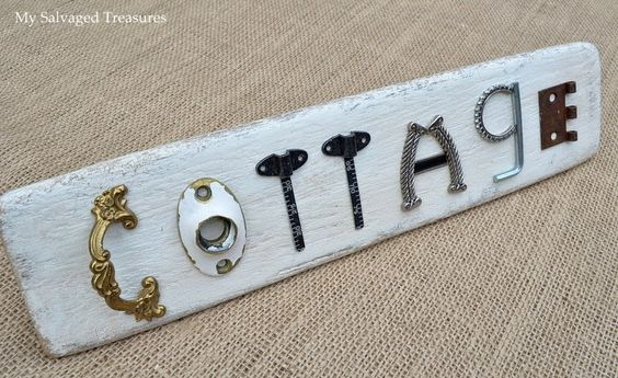 'Cottage' Sign - made from repurposed concrete tools