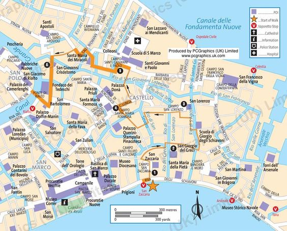Castello Venice Walk Map Produced By PCGraphics See More Of - Venice san marco map
