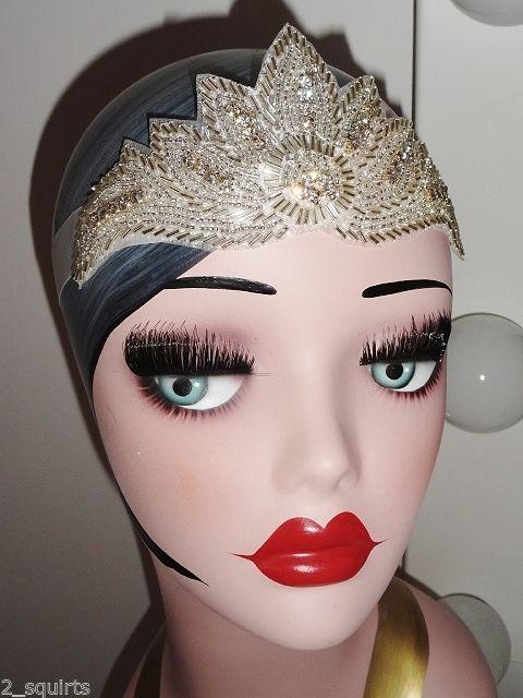 Neu 1920 ' S Flapper Gatsby Perlen Kopfband Crystal Band Haar Off Weiß Braut