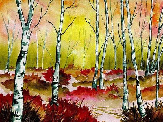 "Landscape Painting Watercolor. Title: "" Resplendent woods "" by Brenda Owen"