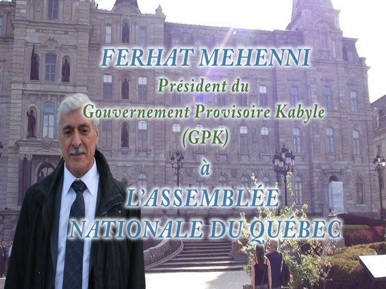 Ferhat Mehenni à l'Assemblée Nationale du Québec