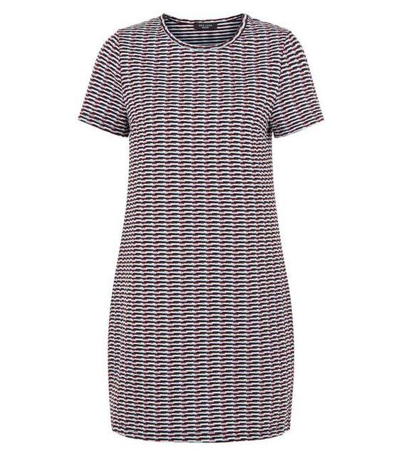 Red Geo Jacquard Tunic Dress | New Look