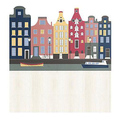 Testiera Amsterdam in legno di pino  ecru e blu scuro   115 x 5 x 105 cm