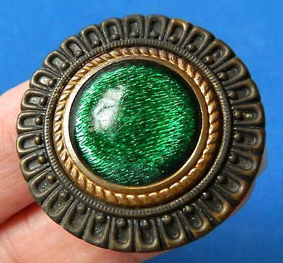 Antique button Gay 90's Large Glass in metal Design under glass