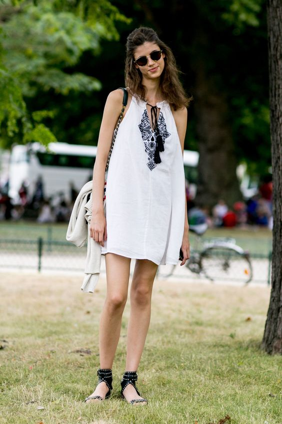 sundress. #AntoninaPetkovic #offduty in Paris.
