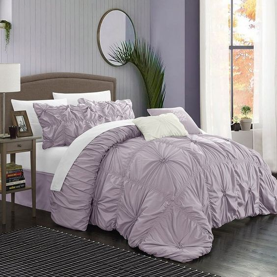 Chic Home Halper 6-piece Bed Set, Purple (£155) ❤ liked on Polyvore featuring home, bed & bath, bedding, purple, king bedding, king size bedding, purple floral bedding, purple bedding and queen bedding