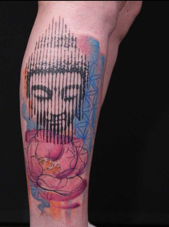 Halftone Thai Buddha Tattoo