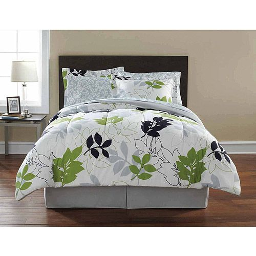 Mainstays Leaf Toss Complete Bedding Set Black Green