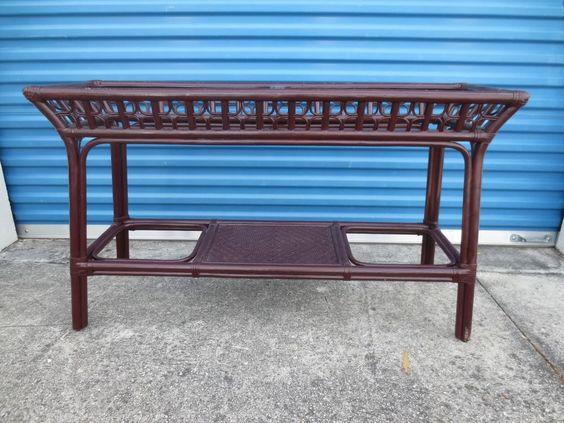 Bamboo Sofa Console Table Hollywood Regency Wicker Coastal Cottage Rattan #tropical #HollywoodRegency