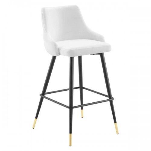 White Back Button Tufted Velvet Black Leg Counter Or Bar Stool In