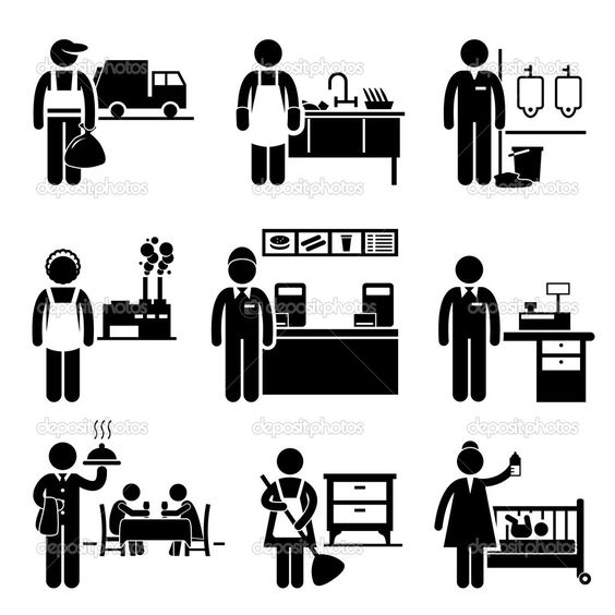 Low Income Jobs Occupations Careers Garbage Man Dishwasher Janitor Factory Worker Fast Food Server Cashier Waiter Maid Pictogram Stick Figures Career