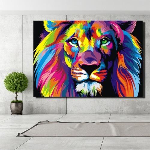 Toile Tete De Lion Coloree Pinturas Abstractas Pintura De