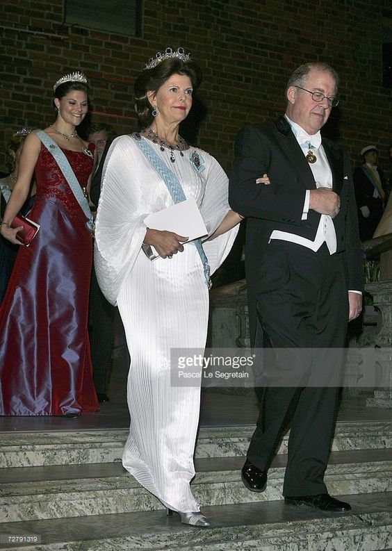 Queen Silvia of Sweden and Marcus Storch, chairman of the Nobel Foundation, arrive to attend the Nobel Foundation Prize 2006 Gala Dinner at the City Hall on December 10, 2006 in Stockholm, Sweden.