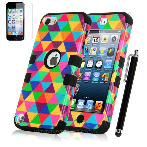 iPod Touch 5th Gen -HARD & SOFT RUBBER HIGH IMPACT ARMOR CASE BLACK HYBRID COVER