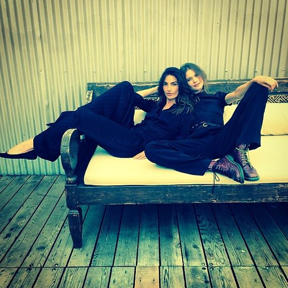 Lily Aldridge and Behati Prinsloo pose together