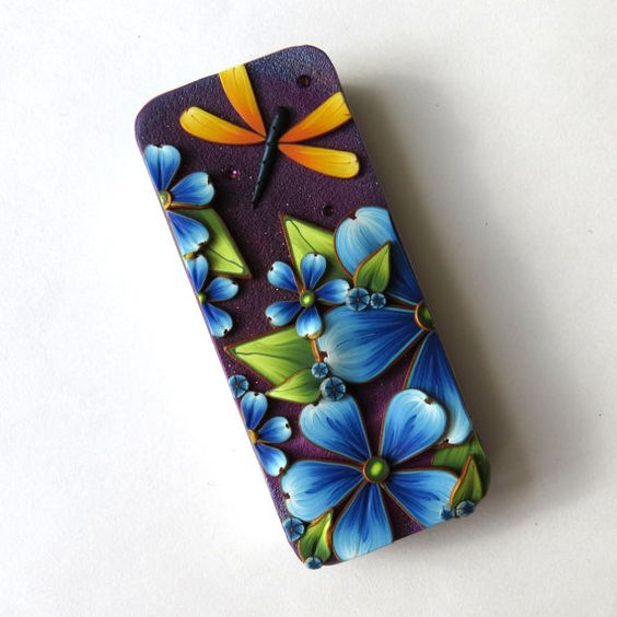 Dragonfly Slide Top Tin Sewing Needle  Polymer Clay by Claybykim