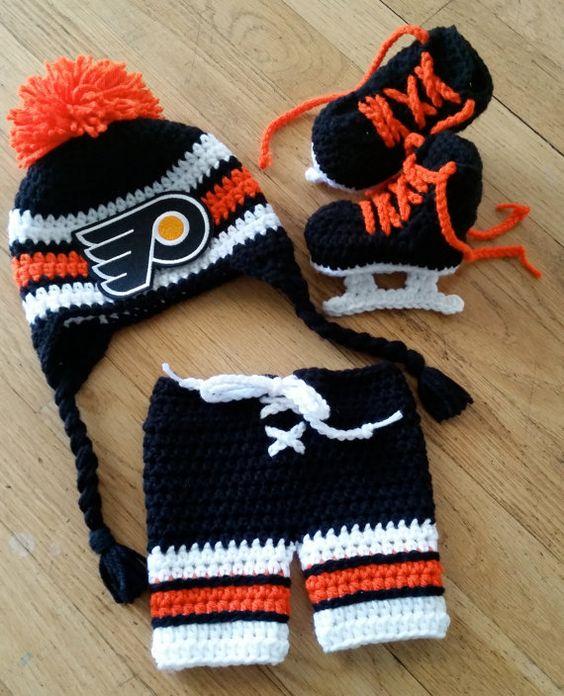 Free Crochet Pattern Baby Hockey Skates : Baby Hockey Set // Hat + skates + pants // pick your own ...