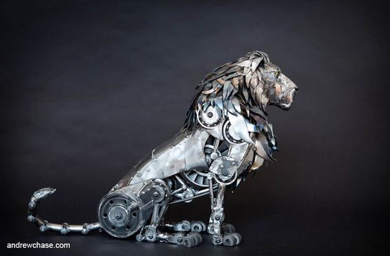 The New Steampunk Sculptures of Andrew Chase Lion and gears. What's not to love.