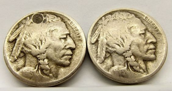 1913-S Type 1 & 1913-S Type 2 Buffalo Nickels (Two Coin Lot)