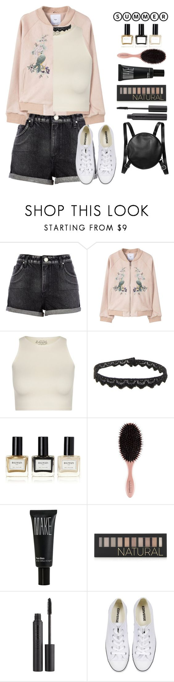 """Bomber Jacket"" by patricia-pfa ❤ liked on Polyvore featuring River Island, MANGO, Free People, Yves Saint Laurent, Balmain, Make, Forever 21, Nudestix, Converse and Monki"