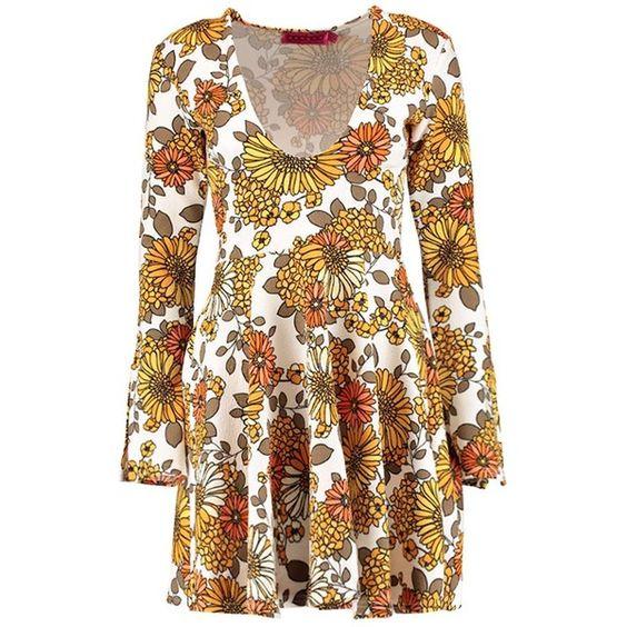 Boohoo Jolie Sunflower 70`s Plunge Skater Dress (38 CAD) ❤ liked on Polyvore featuring dresses, boho dress, polka dot maxi dress, skater dress, floral dress and floral midi dress