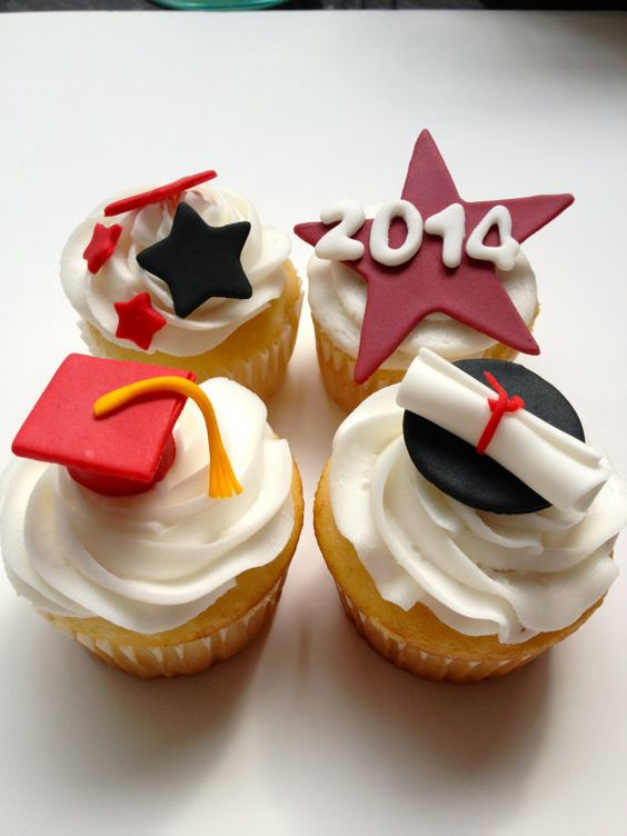 Graduation diploma, caps, and the year handmade edible fondant cupcake toppers by FancyTopCupcake
