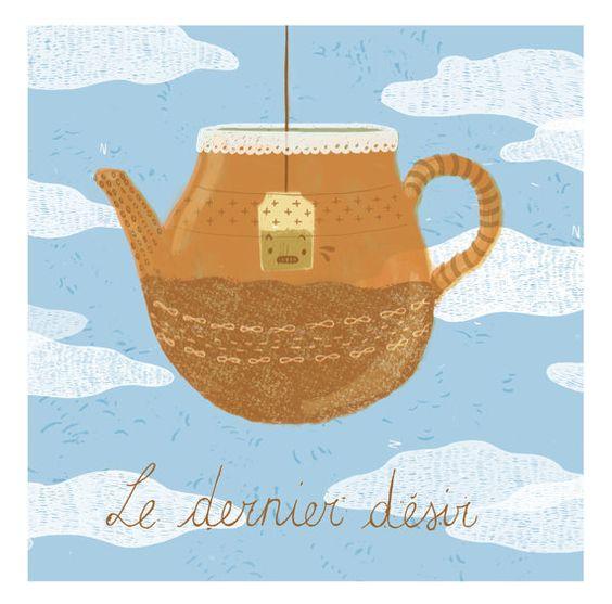 le dernier désir  teapot illustration by peutfeutre on Etsy, €12.00