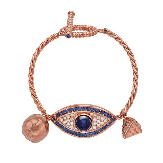 Sapphire Diamond Gold Sahara Eye Bracelet 1