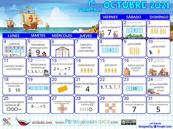 Calendario Primero ABN – Octubre 2021