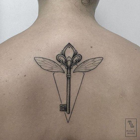 Winged skeleton key by Marla Moon