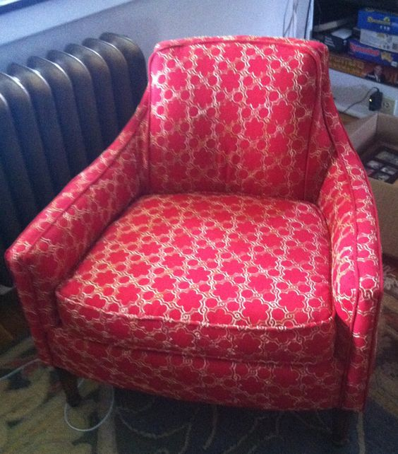 Reupholstery project, mid-century arm chair