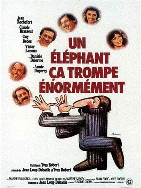 """Pardon Mon Affaire (1976) """"Un éléphant ça trompe énormément"""" (original title) Stars: Jean Rochefort, Claude Brasseur, Guy Bedos, Victor Lanoux, Anny Duperey  ~  Director: Yves Robert (Nominated for a  Golden Globe for Best Foreign Film - France)"""