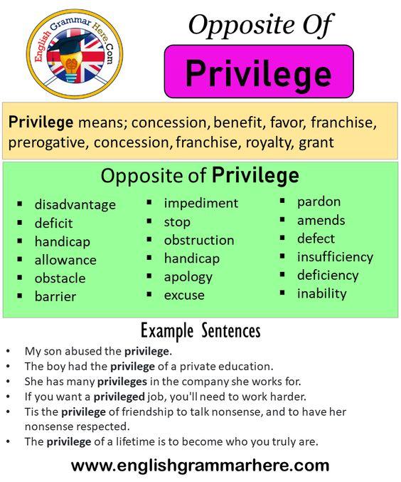Opposite Of Privilege Antonyms Of Privilege Meaning And Example Sentences Antonym Opposite Words Contradict Each In 2021 Opposite Words Opposite Words List Opposites