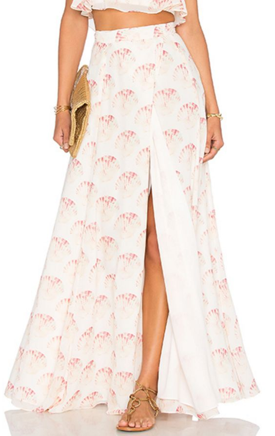 Pink and White Shell Maxi Skirt