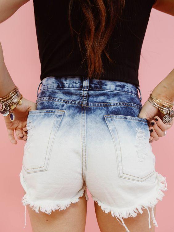 Ombre Denim Shorts
